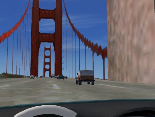 Driving over the Golden Gate Bridge in San Francisco