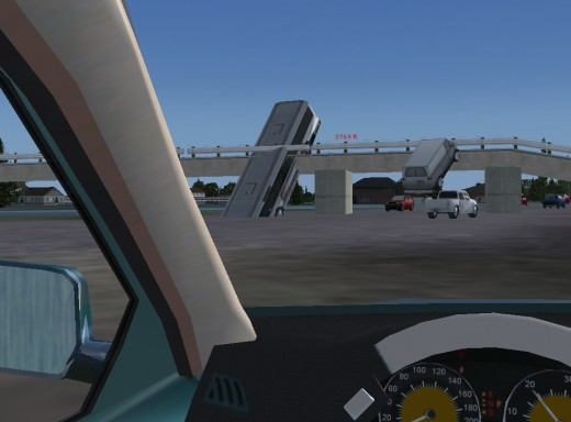 Flaw #2: The AI cars drive over the overpasses. Funny to watch.