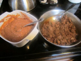Warmed-up beans and cooked ground beef