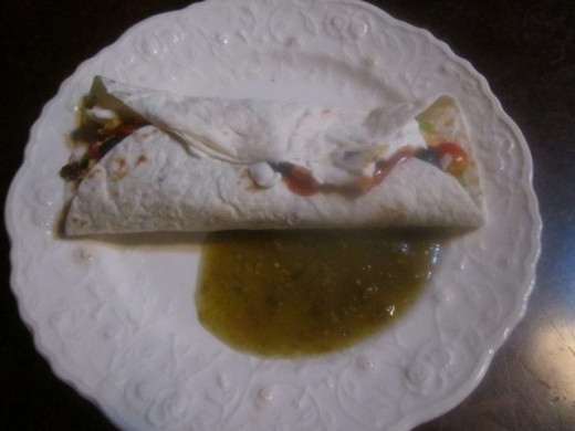 Wrap tortillas. Dip in salsa as desired.