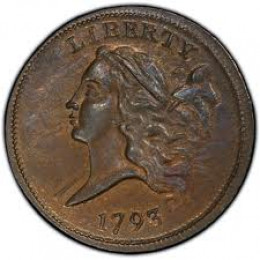 The 1793 Liberty Cap half cent was the first and only half cent coin ever produced. Only 35,334 1793 half cents were produced. At low grade, this coin is still valued over $2,200.