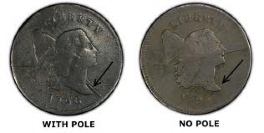 This is the style of the Liberty Cap Left half cent. The picture also shows you the difference between the 1796 half cent with pole and without the pole.