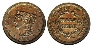 This is the style of the Braided Hair half cent.