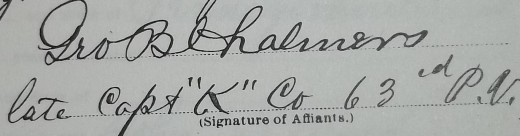 George B. Chalmers' signature on an affidavit found in the Civil War pension file of John D. Wood.
