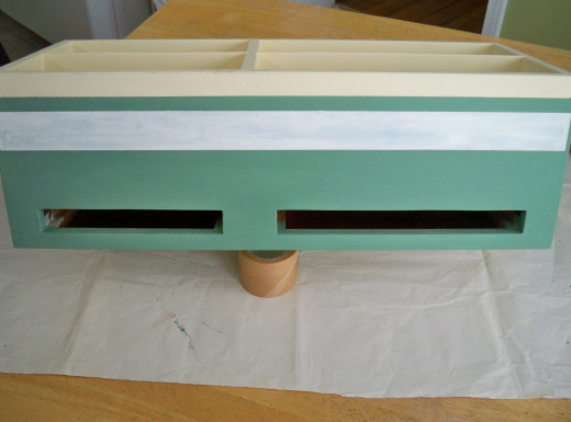 Find Center of Border and Begin Painting Semi-Random Sections With the Sage Green.
