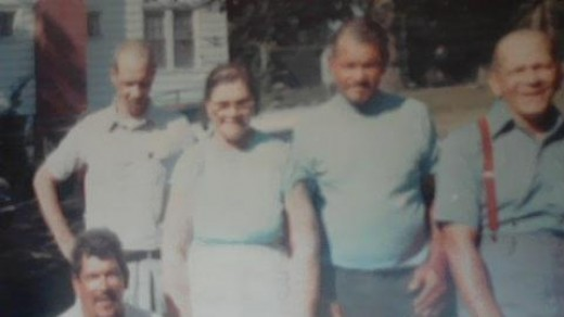 Great-grandma (Ma) and her boys (Uncle Boot and Brothers) Ben, Robert, Charlie, and James .