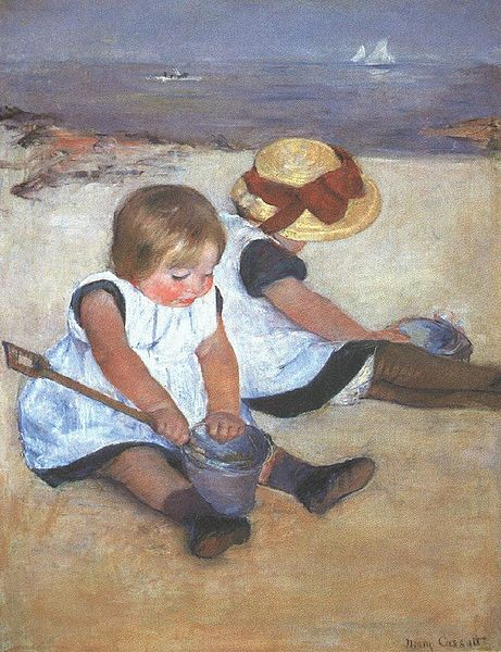 My favorite painting by Mary Cassatt.  It reminds me of my sister and me at the Jersey shore when we were children. (of course, the bathing suits were different!)