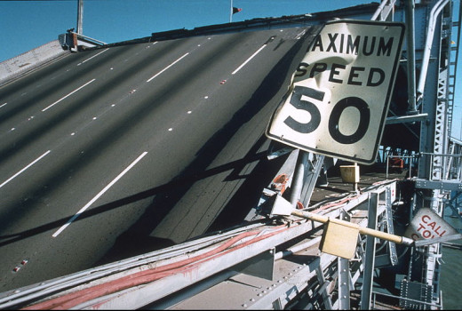 Freeway damage after the 1989 earthquake in San Francisco