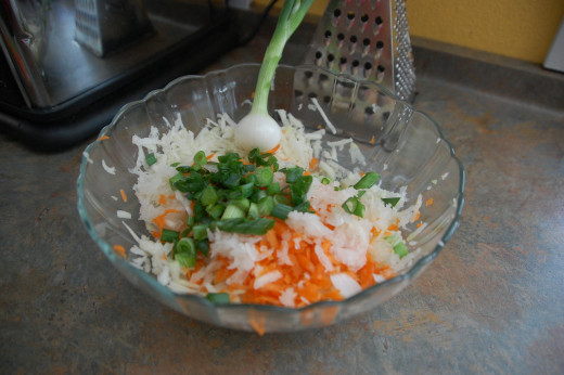 onions and carrots shredded and added to kohlrabi, I kept the last onion to eat myself