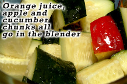 Toss the orange juice, apple chunks and cucumber chunks in the blender.