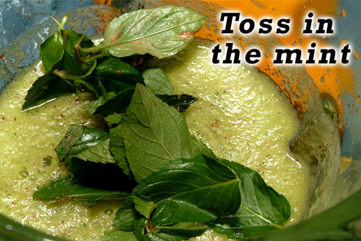 Add the mint leaves to the blender.