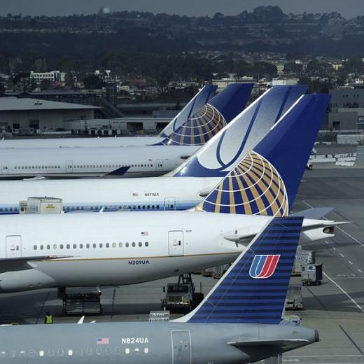 Airplanes waiting at the gates at San Francisco International SFO