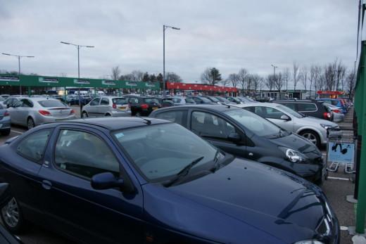 Typical airport car rental paring lot