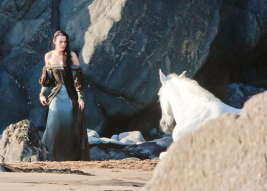 Every little girl's dream: riding a glorious white horse immediately after emerging from a sea of crap.