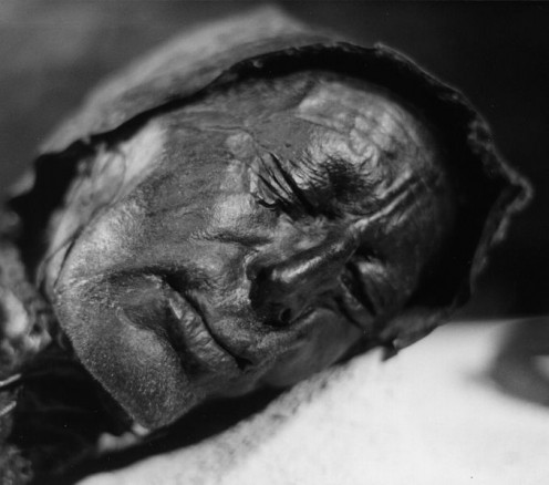 Tollund Man, a Bog Body found in Denmark. He was found with the rope used to hang him still wrapped around his neck. He is one of the best preserved of the Bog Bodies and dates from as far back as 375 BC.