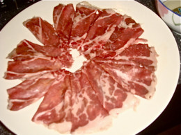 Folded up thinly cut slices of meat