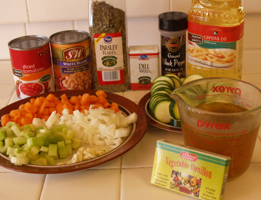 Ingredients for Vegan Vegetable Soup