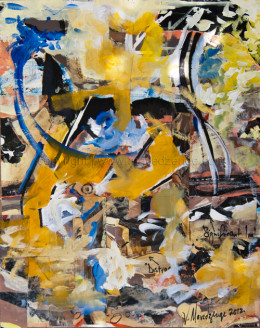 Abstract painting in acrylic on paper, 2012 on show at La Pena Cultural center June 2012. Artist, Victor Mavedzenge,MFA.