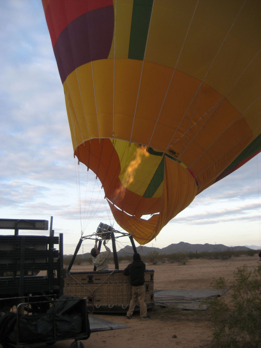 Preparing for takeoff - inflating the balloon takes quite some time.