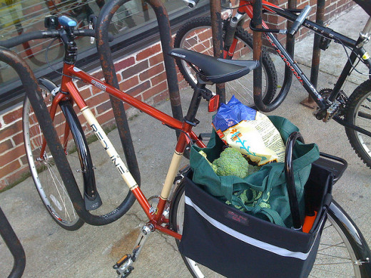 Perfect use of grocery bag panniers!