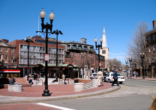 Bustling Harvard Square, Cambridge