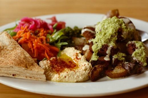 Example of delicious vegan food, falafels.