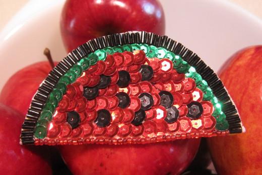 Applique Sequin Watermelon Slice Magnet