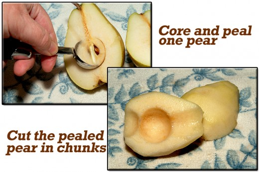 Core, peal, and chunk-cut the pear.