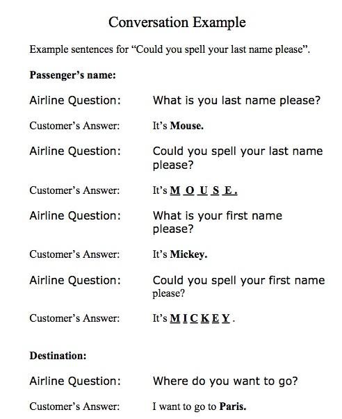Airline practice script.