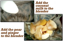 Pour the coconut milk and add the pear and ginger to the blender.