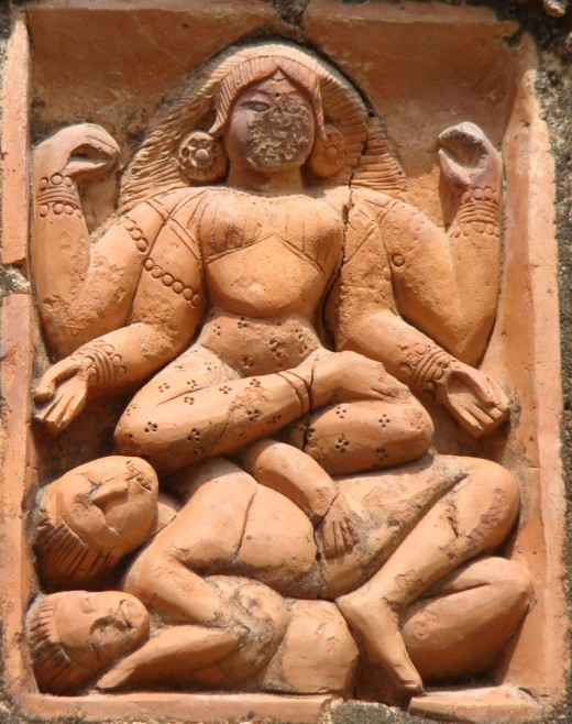 Goddess Kali on two Shiva-s (Sadashiva below & Mahakala Shuva above);  Lakshmi Narayan temple, Ghurisa