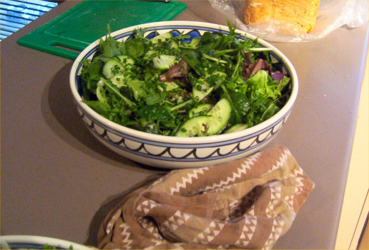 A healthy green salad rounds out this meal well, especially when graced with a light vinaigrette sauce.