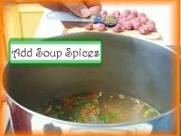 Adding Albondigas Spices to the Pot: Add 1/2 tsp Menudo Mix, 1 Tbsp salt, 1/4 tsp black pepper and 1/2 tsp oregano to the soup pot and mix.