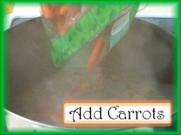 Adding Carrots to the Albondigas Pot: Add 1 lb. of fresh carrots to the soup pot, reduce heat to medium and cook for 15 minutes.