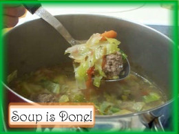 The Albondigas is Looking Good!:  Turn the stove off and allow the soup to finish cooking as the burner cools.