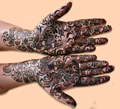 Mehndi design on hands