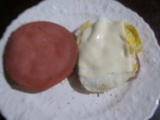 I added lunchmeat (good ole bologna) this time, but I usually don't add any meat.