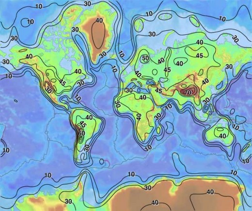 Map showing the thickness of the crust (not elevation). A kilometer is 0.62 miles.