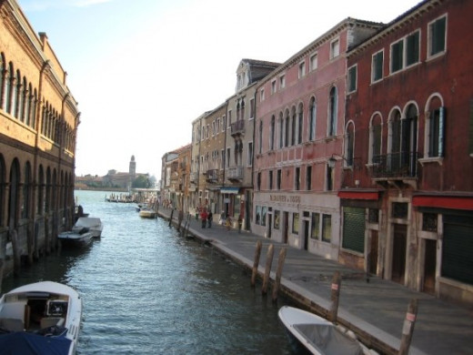A side canal in Venice just off the Grand Canal.
