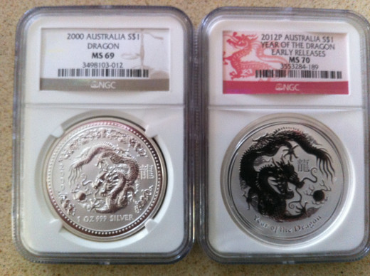 Two Dragons. 2000 & 2012 1oz Dragons side by side