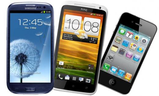 Samsung Galaxy S3, HTC One X, iPhone 4S