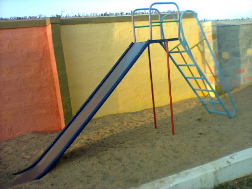I SAW A KID TRYING TO SIT ON THE HAND RAIL ON THE LEFT OF THIS SLIDE.IF IT WERE TO FALL IT WOULD CUT THE FACE OF THE KID.