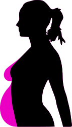 A shadow figure of a woman, demonstrating the difference in her body pre-pregnancy and during.