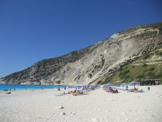The white sandy beach of Myrtos bay.