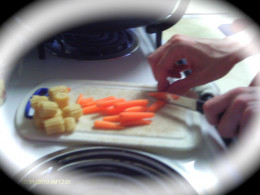 Chop vegetables into equal sized pieces