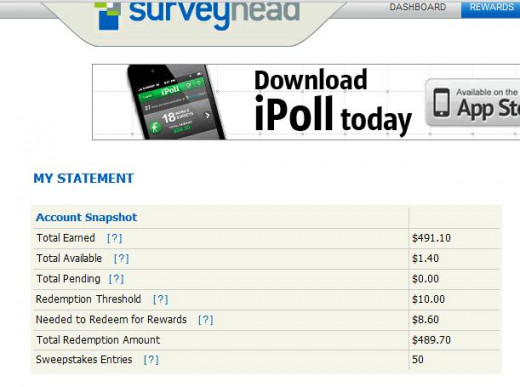 Screenshot from my computer of earnings from Surveyhead.