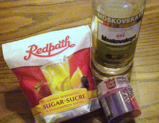 Instant dissolving sugar, vodka, and large granule, coloured sugar.