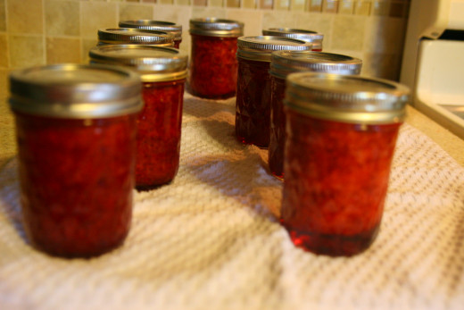 Pour the jam into jars, place lid and rings on the jars, and process in a hot water bath for 10 minutes. Allow to cool for 24 hours on a counter.