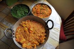 The three parts of the Tricolor Biryani ready to be layered