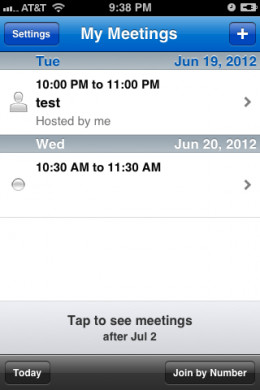 A list of your upcoming meetings is displayed by date, with the most recent being listed first.